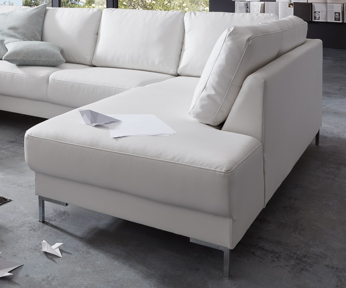 couch silas weiss 300x200 cm ottomane rechts designer wohnlandschaft by delife ebay. Black Bedroom Furniture Sets. Home Design Ideas