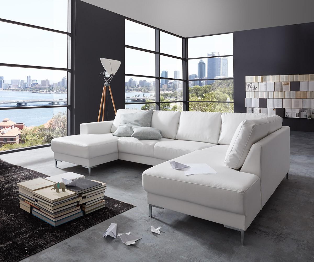 Designer-woonlandschap Silas 300x200 wit ottomane rechts