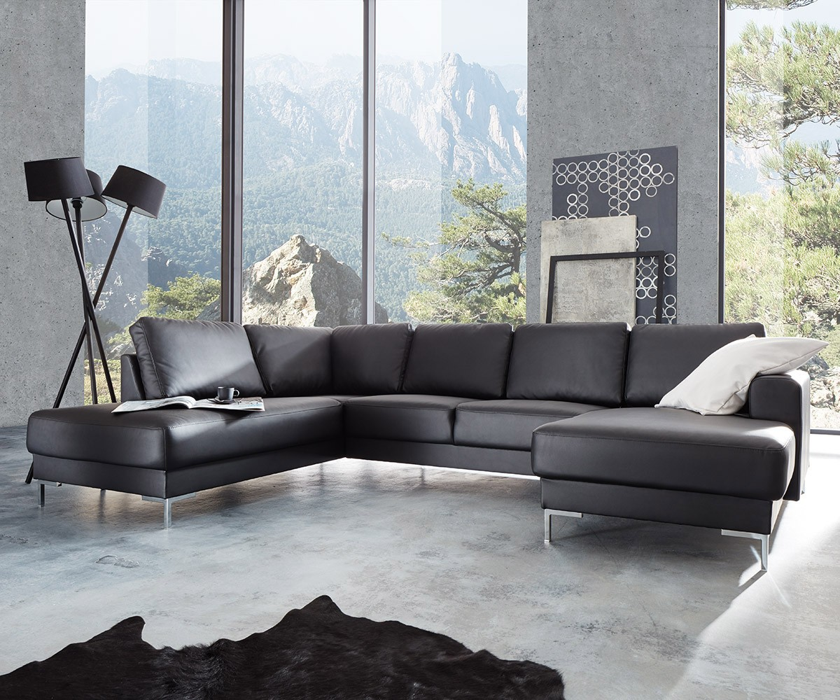 designer wohnlandschaft silas 300x200 schwarz ottomane links m bel sofas wohnlandschaften. Black Bedroom Furniture Sets. Home Design Ideas