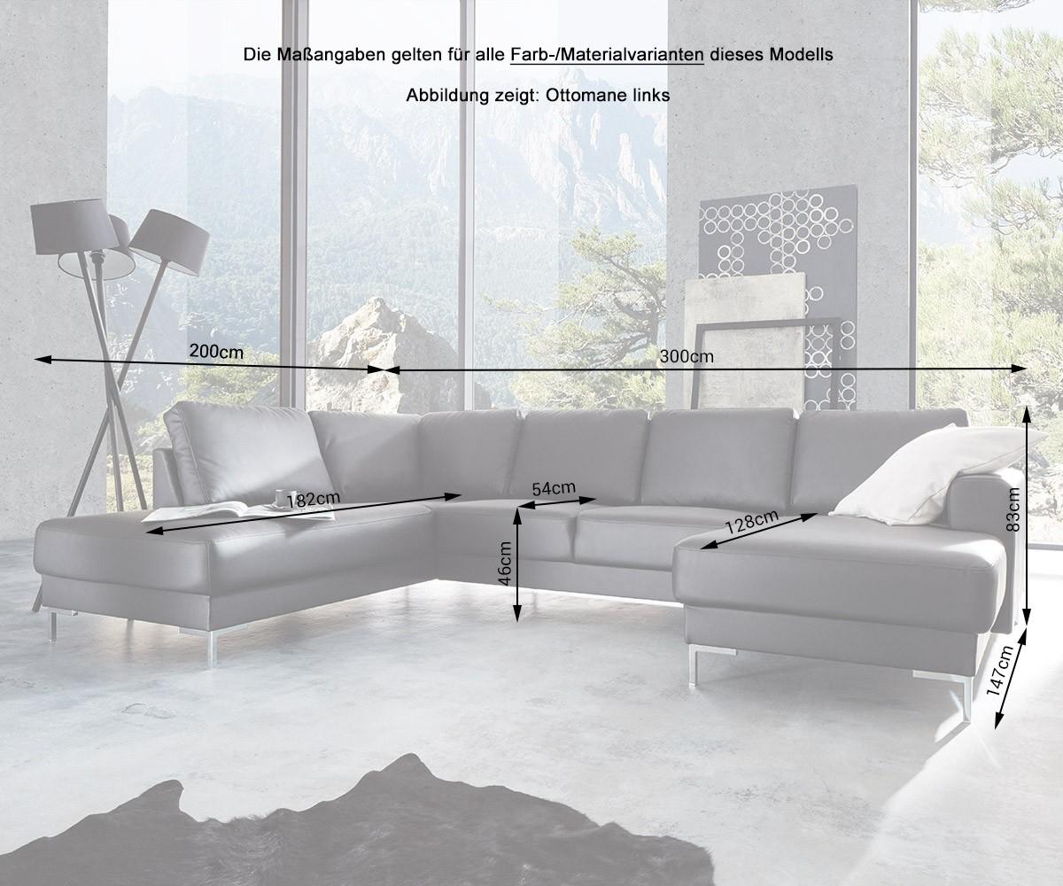 Couch silas schwarz 300x200 cm ottomane links designer for Wohnlandschaft 300 cm breit