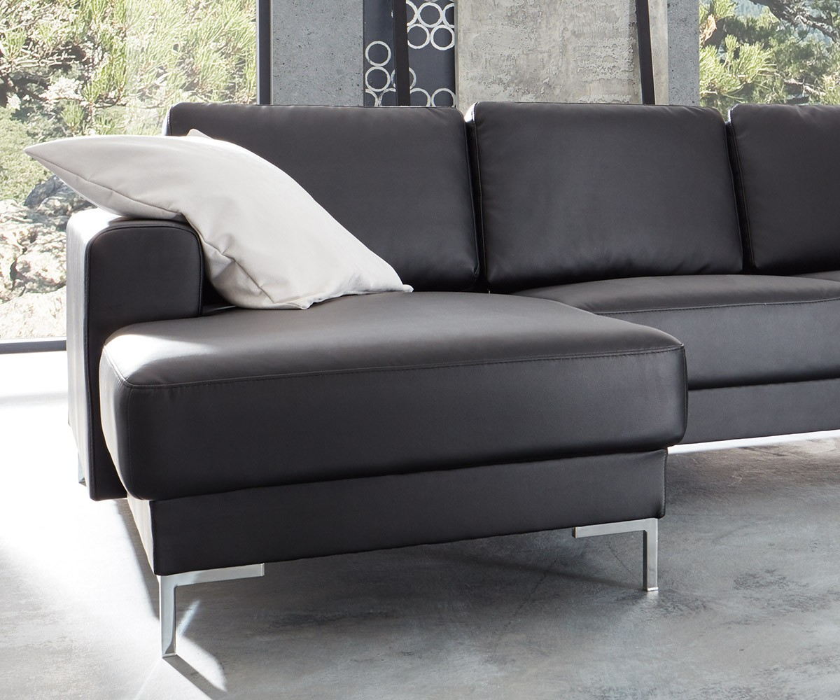 couch silas schwarz 300x200 cm ottomane rechts designer wohnlandschaft. Black Bedroom Furniture Sets. Home Design Ideas
