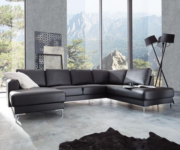 Designer-woonlandschap Silas 300x200 zwart ottomane rechts 1