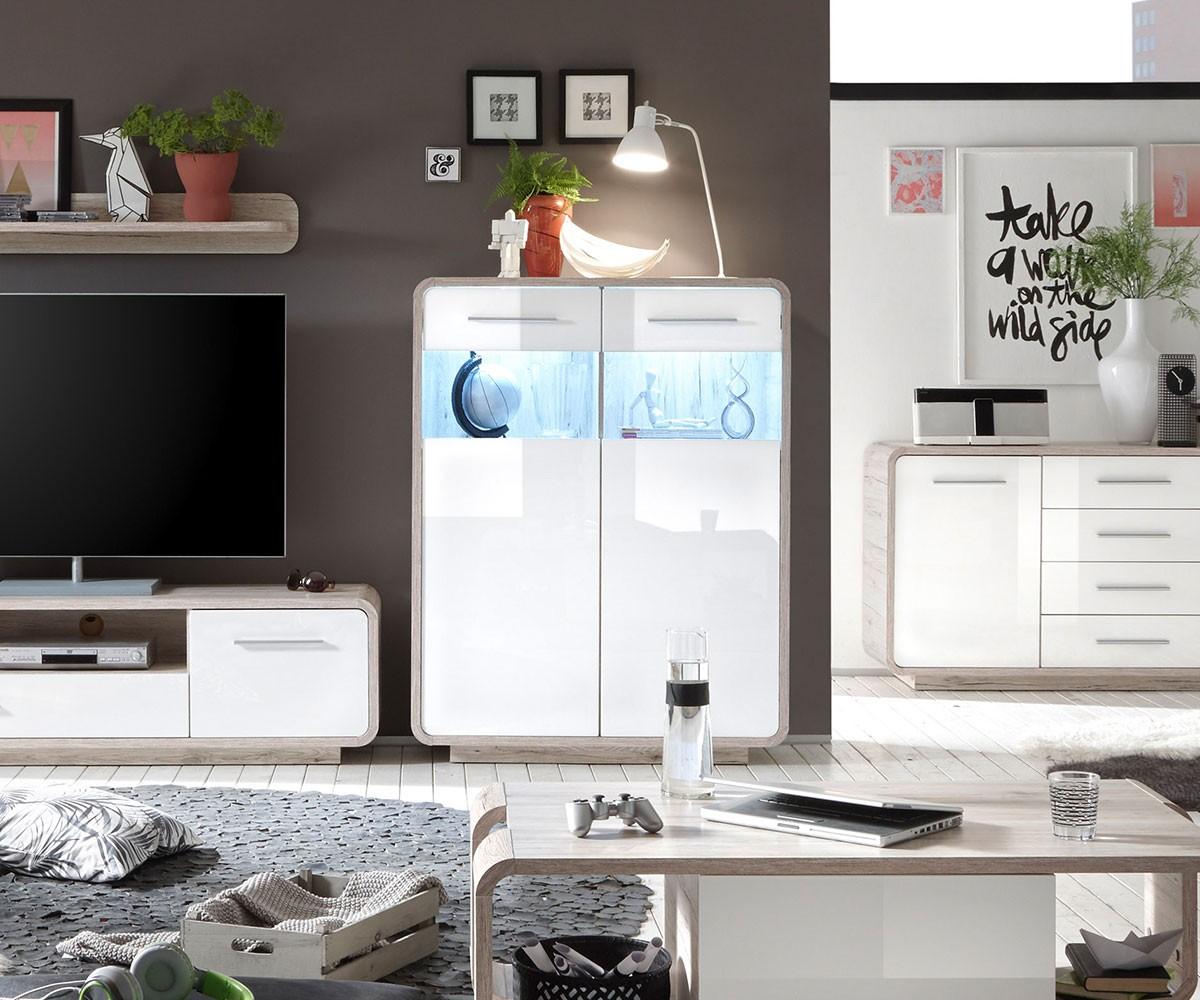 sideboard raimondo 105 cm weiss hochglanz sandeiche dekor. Black Bedroom Furniture Sets. Home Design Ideas