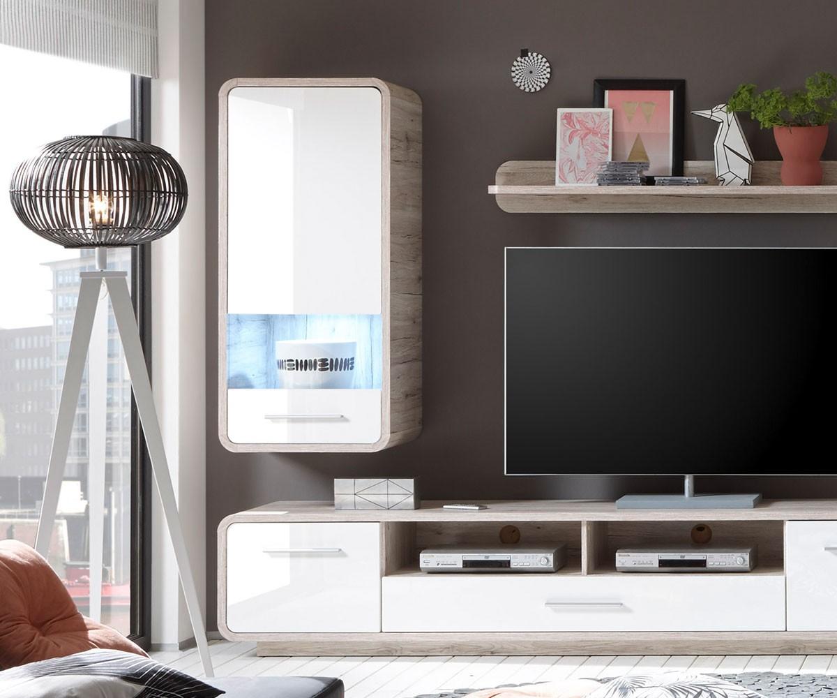 wohnzimmerschrank raimondo weiss sandeiche dekor mit led h ngeschrank hochglanz. Black Bedroom Furniture Sets. Home Design Ideas
