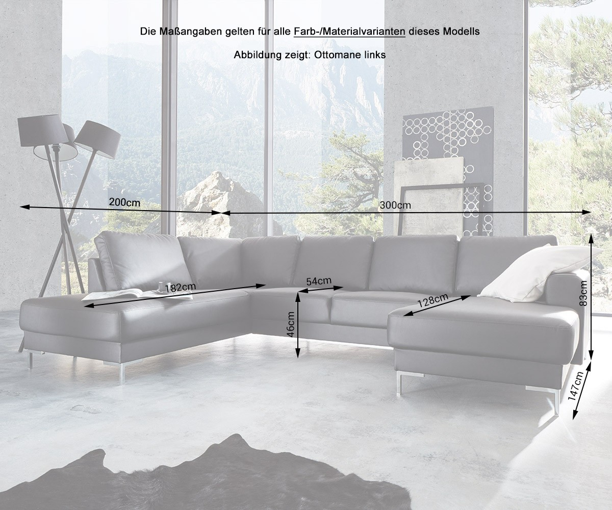 designer wohnlandschaft silas 300x200 grau ottomane links m bel sofas wohnlandschaften. Black Bedroom Furniture Sets. Home Design Ideas