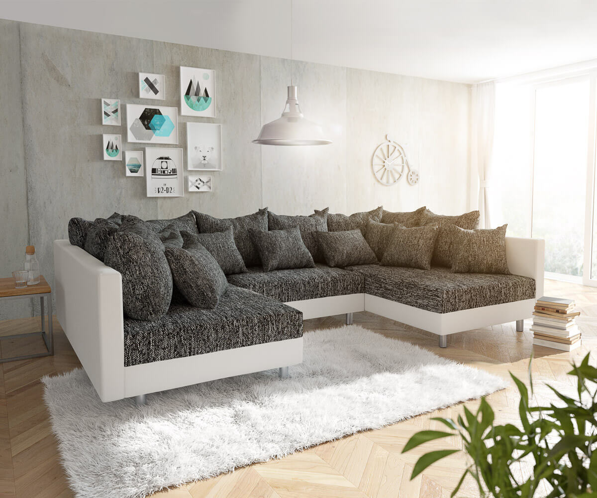 couch clovis weiss schwarz wohnlandschaft modulares sofa. Black Bedroom Furniture Sets. Home Design Ideas