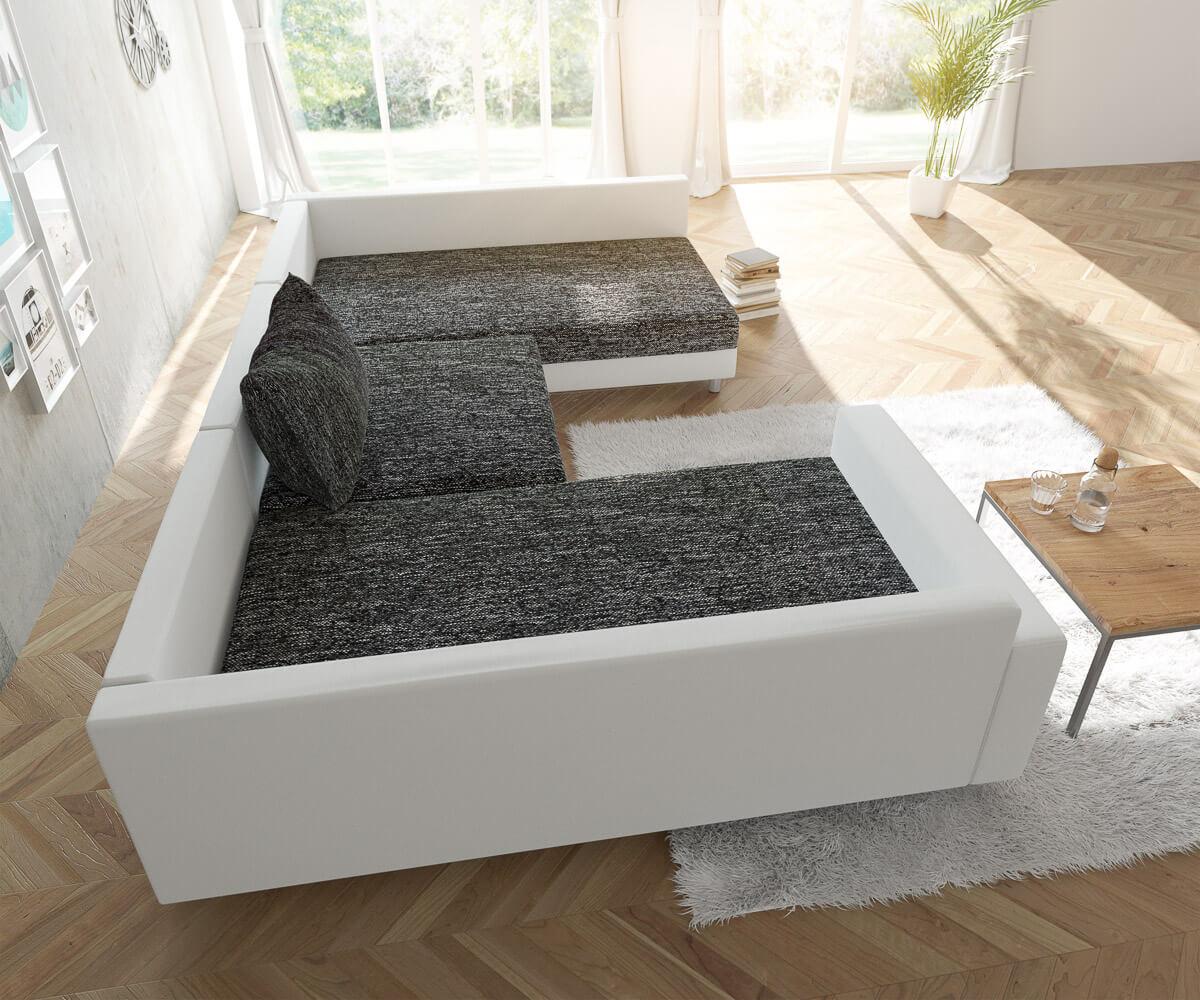 Couch Clovis Weiss Schwarz Mit Armlehne Wohnlandschaft