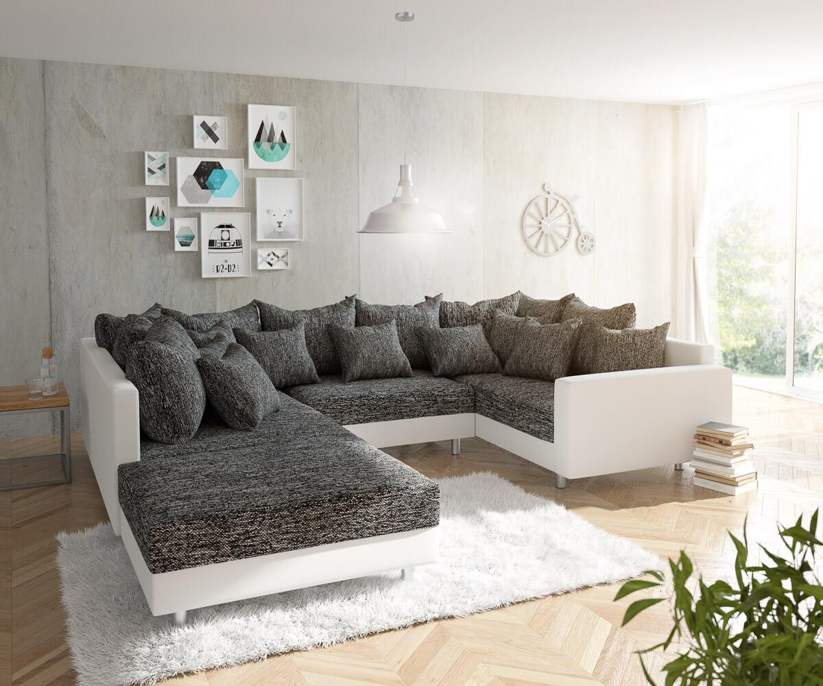 wohnlandschaft clovis weiss schwarz mit hocker und. Black Bedroom Furniture Sets. Home Design Ideas