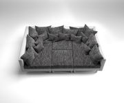 Couch Clovis Weiss Schwarz mit Hocker und Armlehne Wohnlandschaft [10728]