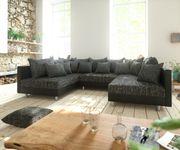 Couch Clovis Schwarz Wohnlandschaft modulares Sofa aus Modulsystem [10733]