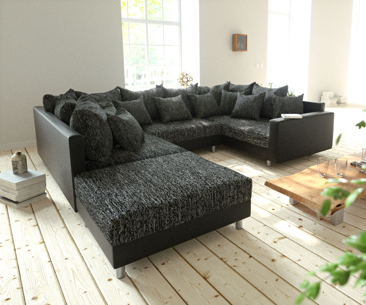 wohnlandschaft clovis schwarz modulsofa hocker armlehne m bel sofas wohnlandschaften. Black Bedroom Furniture Sets. Home Design Ideas
