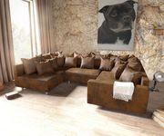 Couch Clovis Braun Antik Optik mit Armlehne Wohnlandschaft modular  [10743]