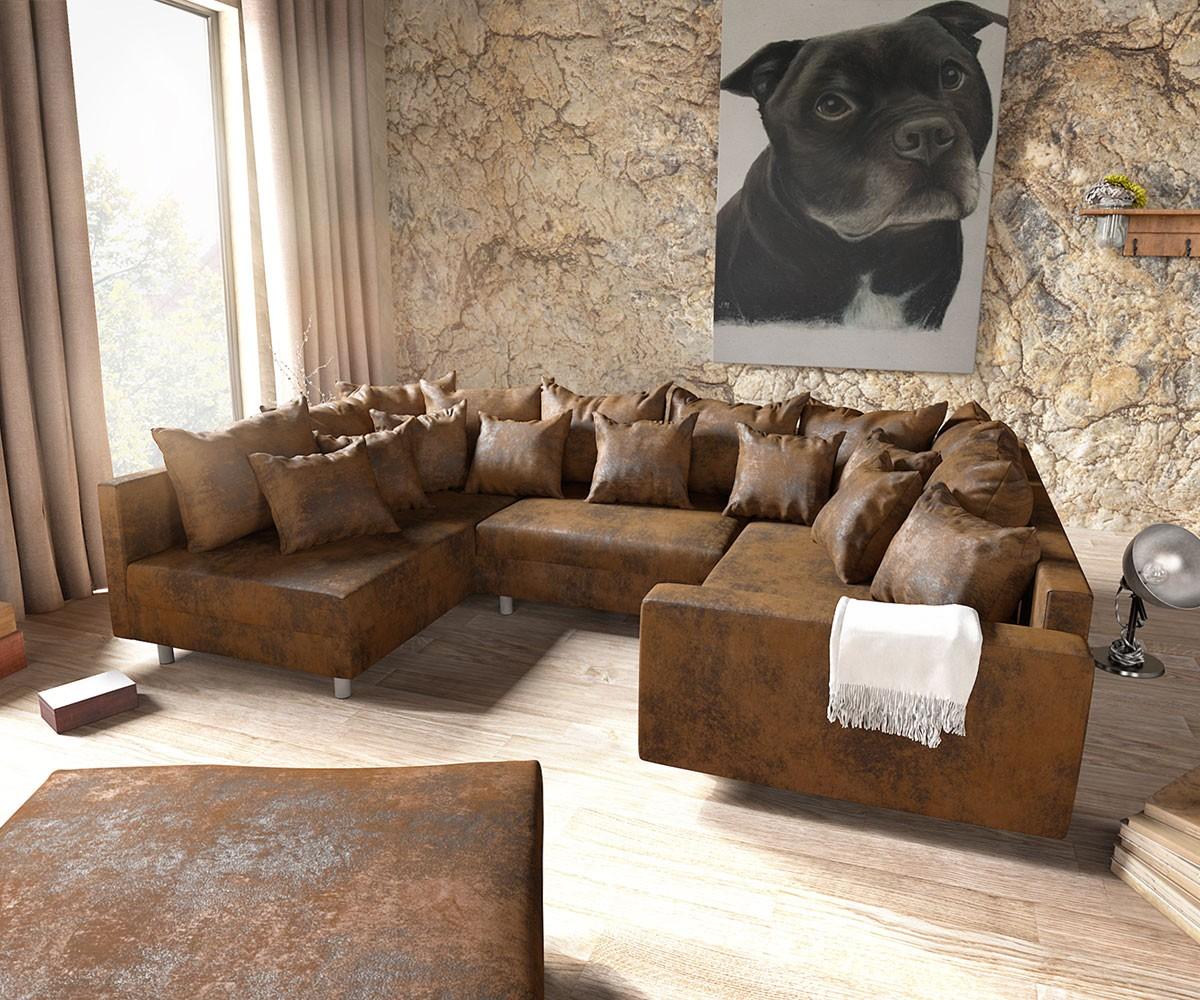 Couch Clovis Braun Antik Optik Mit Hocker Und Armlehne