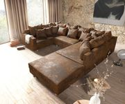 Couch Clovis Braun Antik Optik mit Hocker und Armlehne Wohnlandschaft Modulsofa [10744]