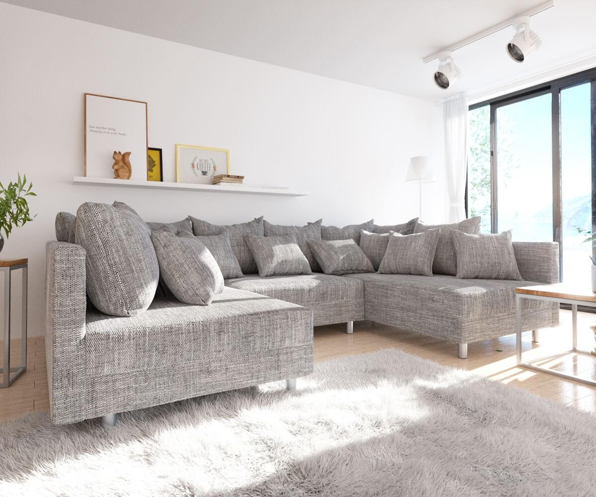 wohnlandschaft clovis hellgrau strukturstoff modulsofa. Black Bedroom Furniture Sets. Home Design Ideas