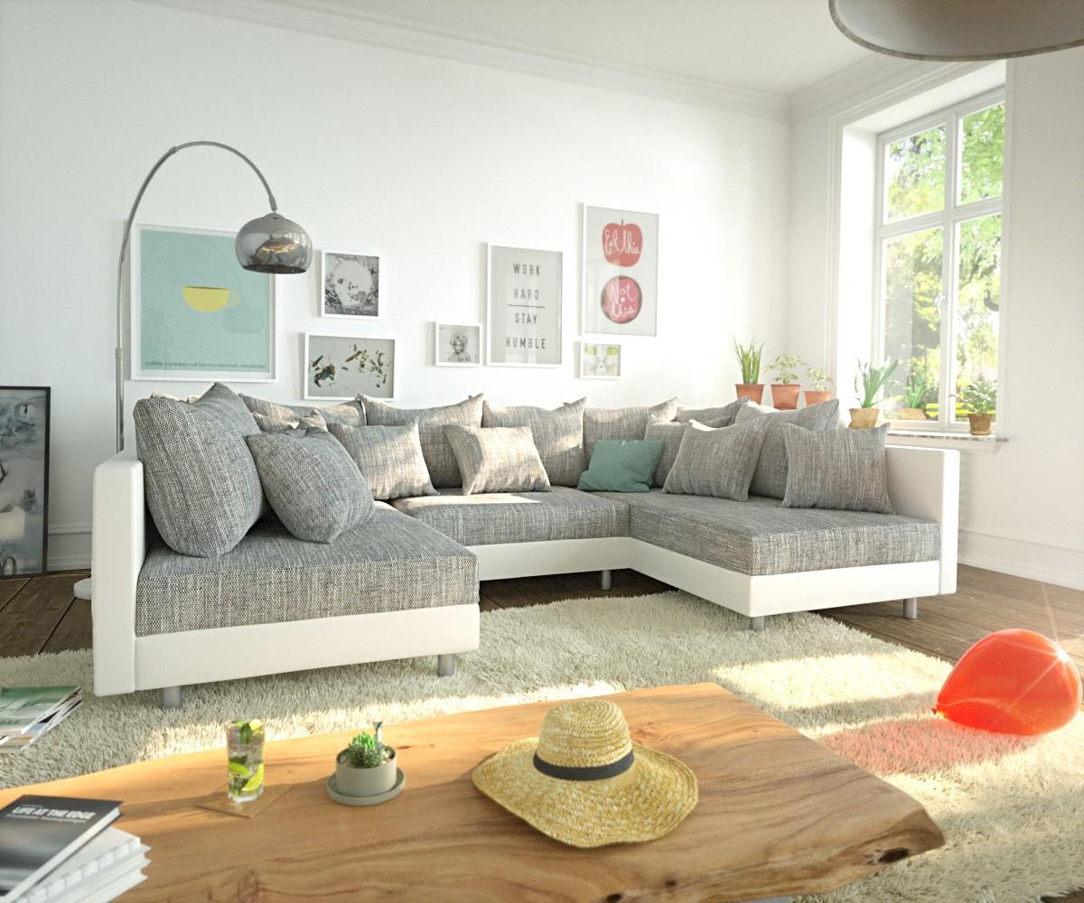 wohnlandschaft braun weis, wohnlandschaft clovis weiss hellgrau modulares sofa möbel sofas, Design ideen