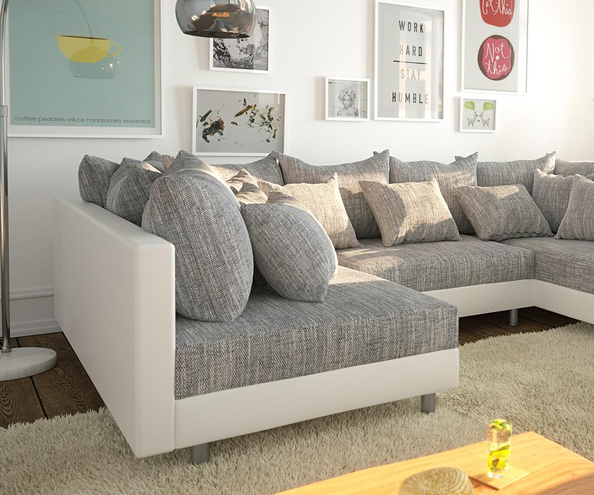 Couch Clovis Weiss Hellgrau Wohnlandschaft Modulares Sofa