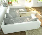 Couch Clovis Weiss Hellgrau mit Armlehne Wohnlandschaft modular [10751]