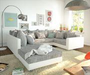 Couch Clovis Weiss Hellgrau Hocker Armlehne Wohnlandschaft Modulsofa [10752]