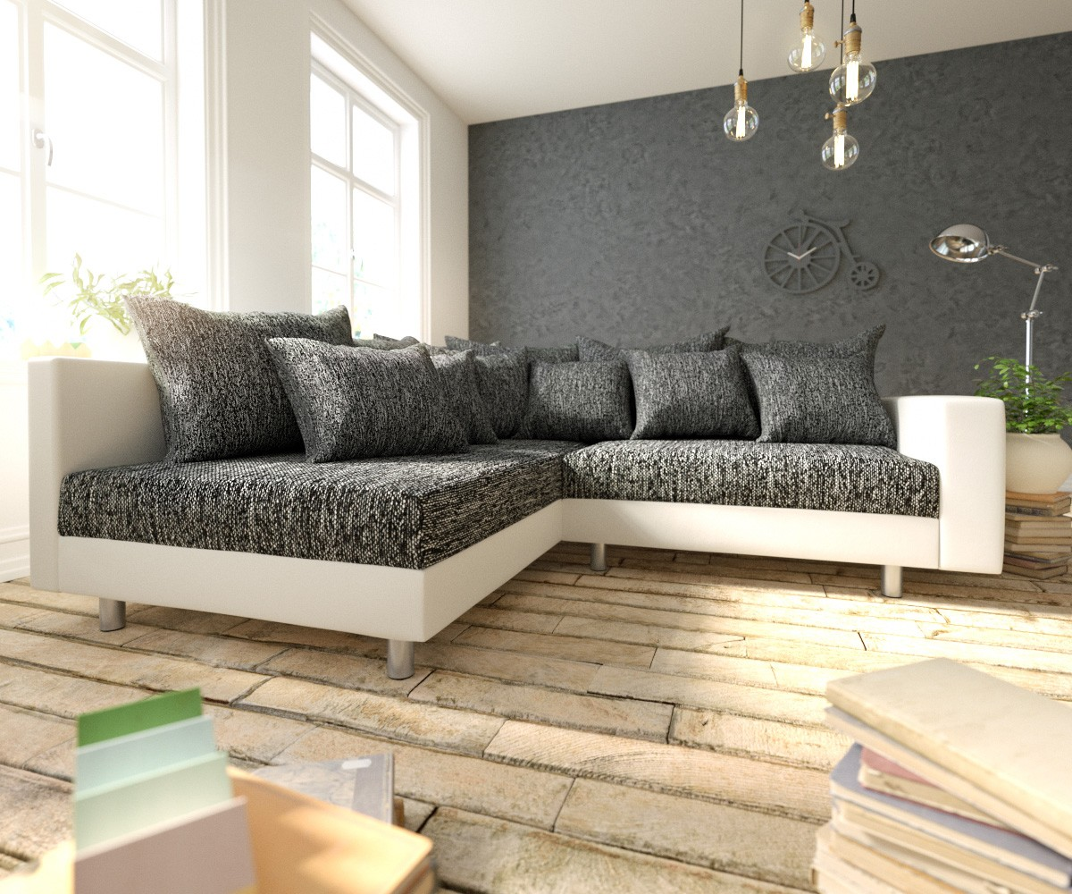 DELIFE Ecksofa Clovis Weiss Schwarz Armlehne Ottomane Links Modulsofa, Design Ecksofas, Couch Loft, Modulsofa, modular