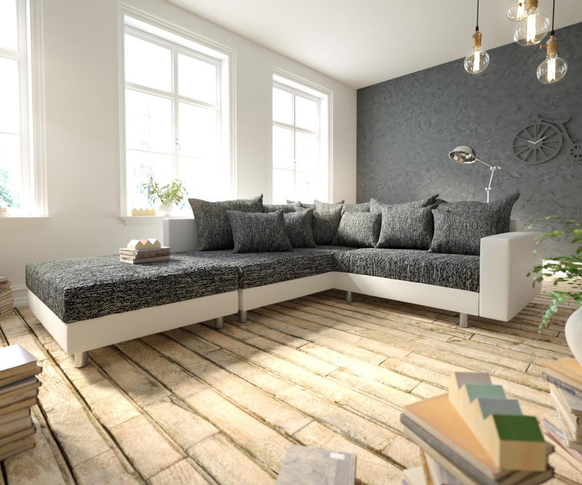 DELIFE Ecksofa Clovis Weiss Schwarz modular Armlehne Hocker Ottomane Links, Design Ecksofas, Couch Loft, Modulsofa, modular