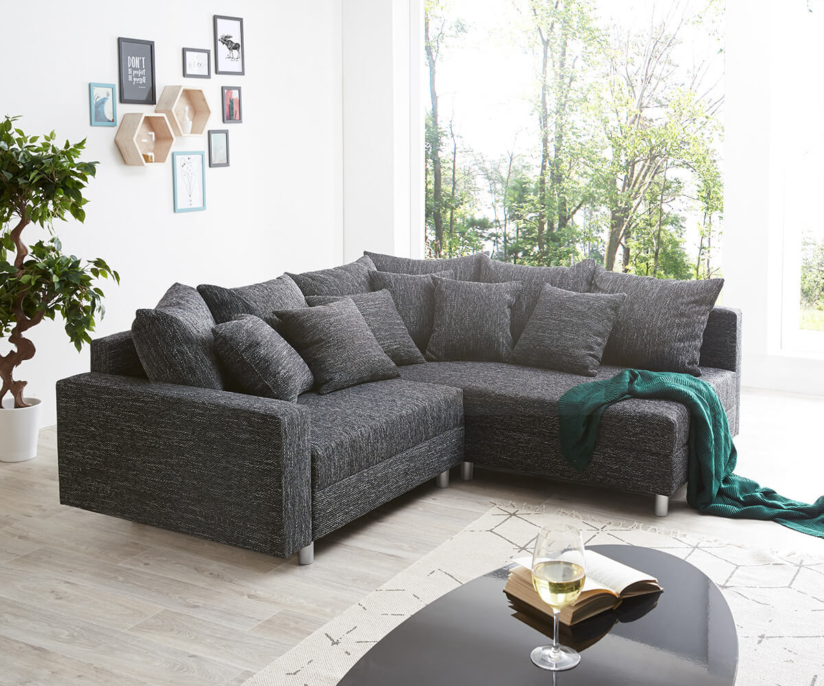 ecksofa clovis schwarz strukturstoff mit armlehne ottomane rechts m bel sofas ecksofas. Black Bedroom Furniture Sets. Home Design Ideas