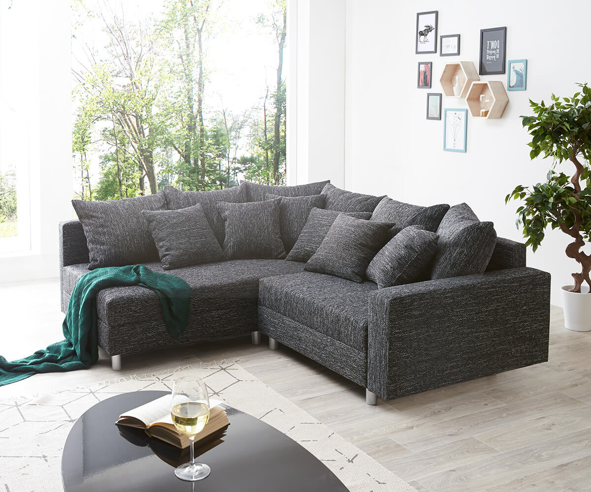 eckcouch clovis schwarz strukturstoff mit armlehne ottomane links ecksofa. Black Bedroom Furniture Sets. Home Design Ideas
