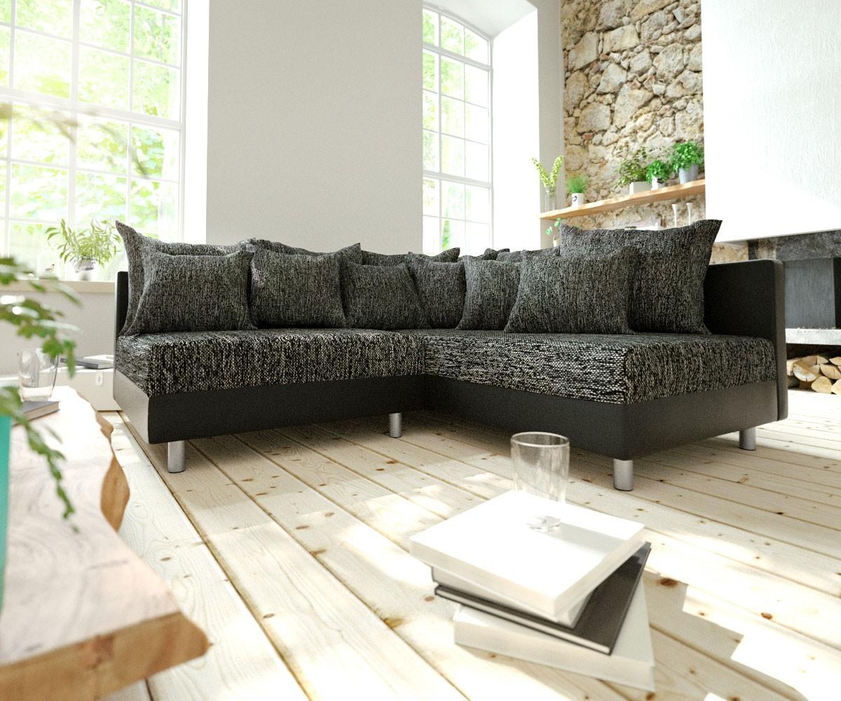 DELIFE Ecksofa Clovis Schwarz Ottomane Rechts Modulsofa erweiterbar, Design Ecksofas, Couch Loft, Modulsofa, modular