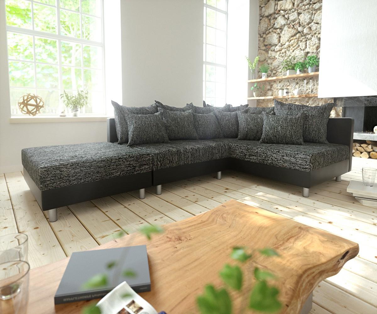 eckcouch clovis schwarz mit hocker ottomane rechts ecksofa modular. Black Bedroom Furniture Sets. Home Design Ideas