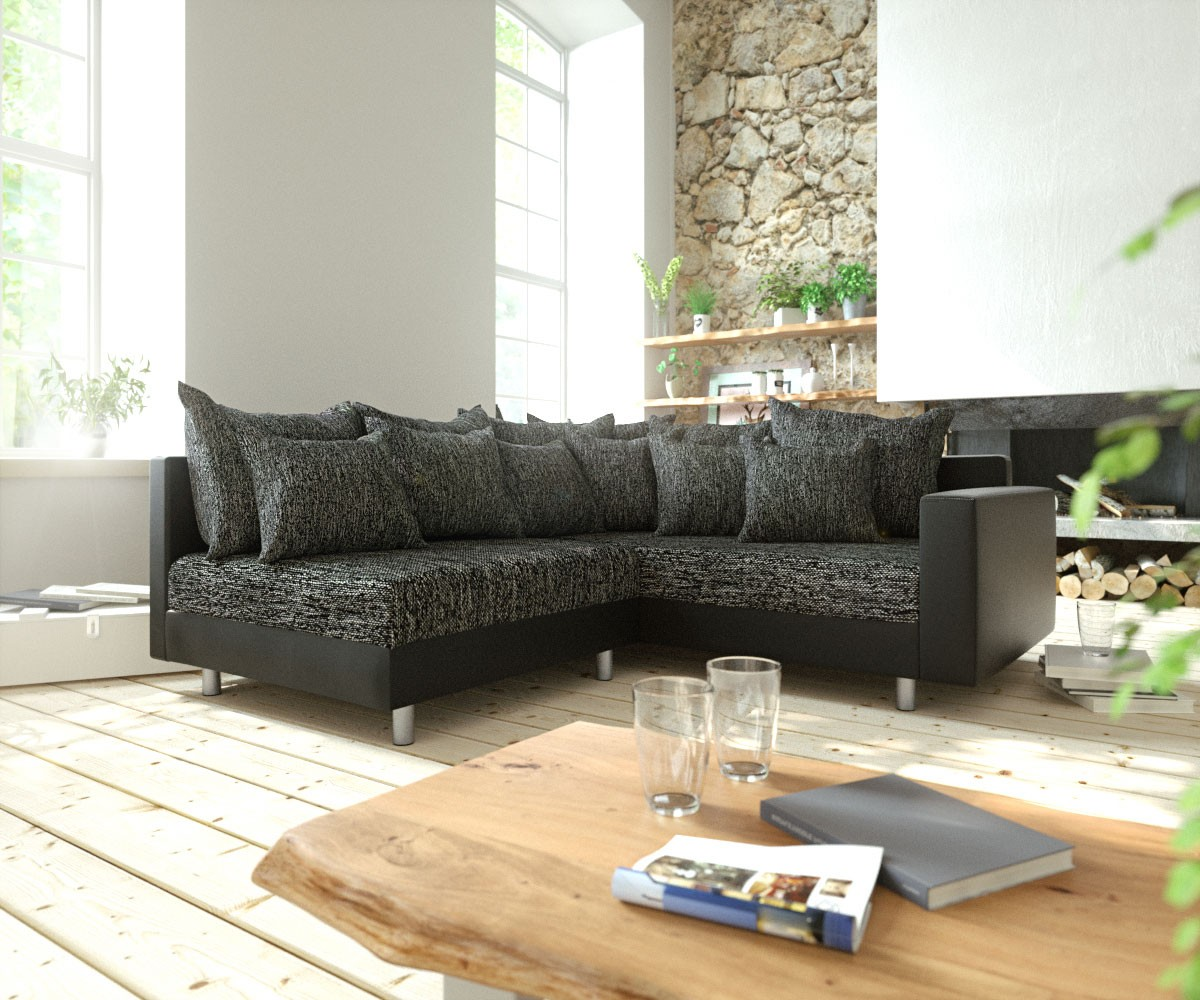 eckcouch clovis schwarz mit armlehne ottomane rechts ecksofa modulsofa. Black Bedroom Furniture Sets. Home Design Ideas