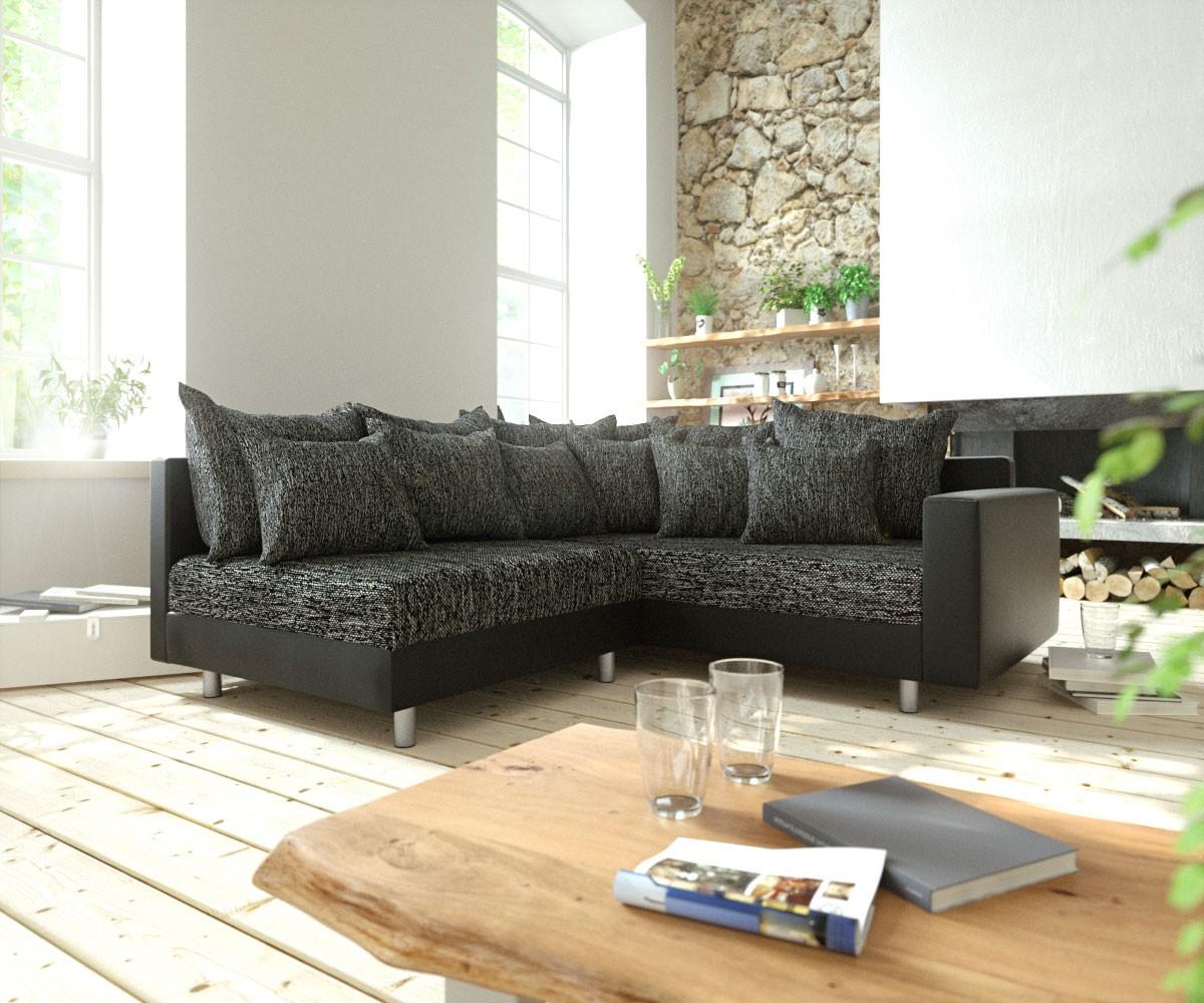 DELIFE Ecksofa Clovis Schwarz modular Armlehne Ottomane Rechts, Design Ecksofas, Couch Loft, Modulsofa, modular