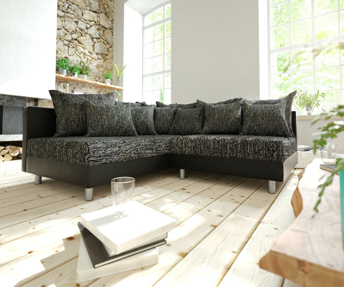 Hoekbank Clovis zwart ottomane links modulair uitbreidbaar