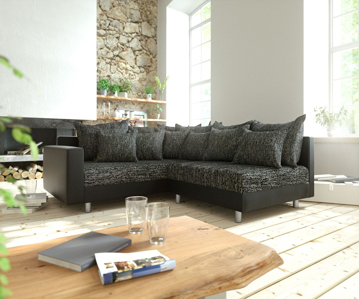 eckcouch clovis schwarz mit armlehne ottomane links ecksofa modulsofa. Black Bedroom Furniture Sets. Home Design Ideas