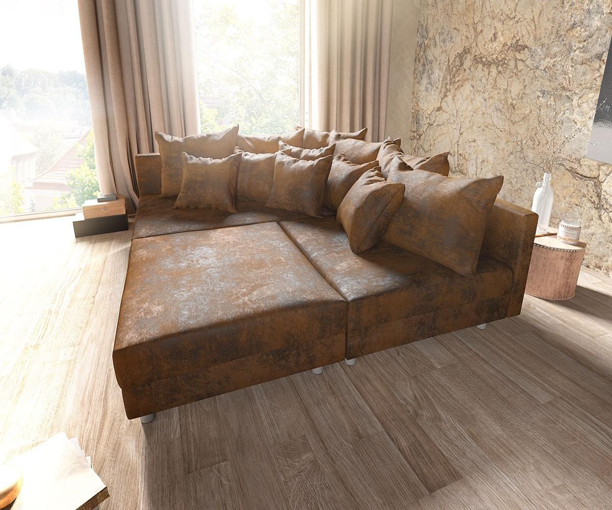 ecksofa clovis braun antik optik hocker ottomane links modulsofa m bel sofas ecksofas. Black Bedroom Furniture Sets. Home Design Ideas