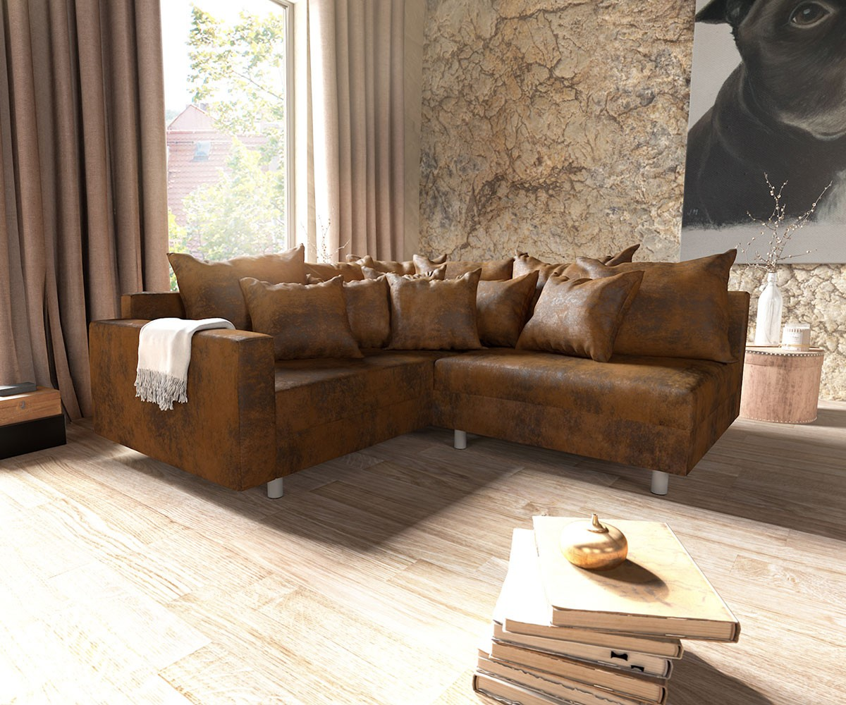 ecksofa clovis braun antik optik modul hocker armlehne ottomane links m bel sofas ecksofas. Black Bedroom Furniture Sets. Home Design Ideas