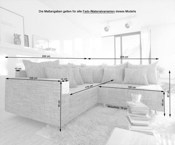 Hoekbank Clovis licht grijs structuurstof met hocker en armleuning ottomane links 2