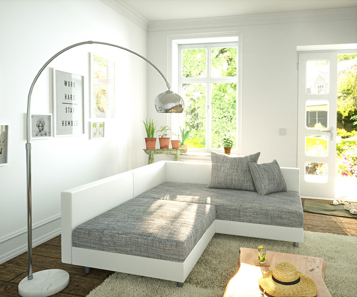 eckcouch clovis weiss hellgrau ottomane rechts ecksofa modular. Black Bedroom Furniture Sets. Home Design Ideas