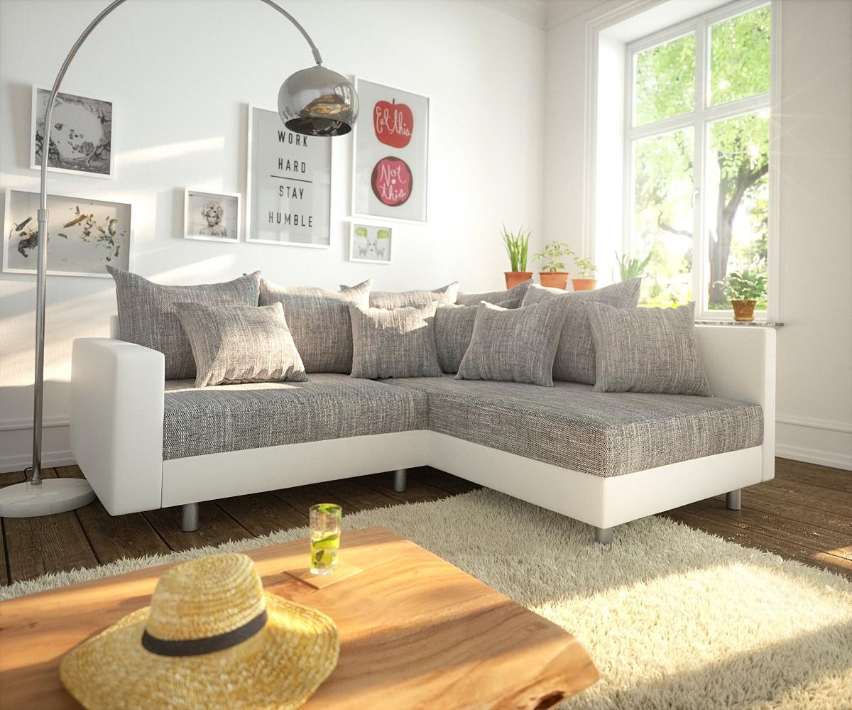 DELIFE Ecksofa Clovis Weiss Hellgrau modular Armlehne Ottomane Rechts, Design Ecksofas, Couch Loft, Modulsofa, modular