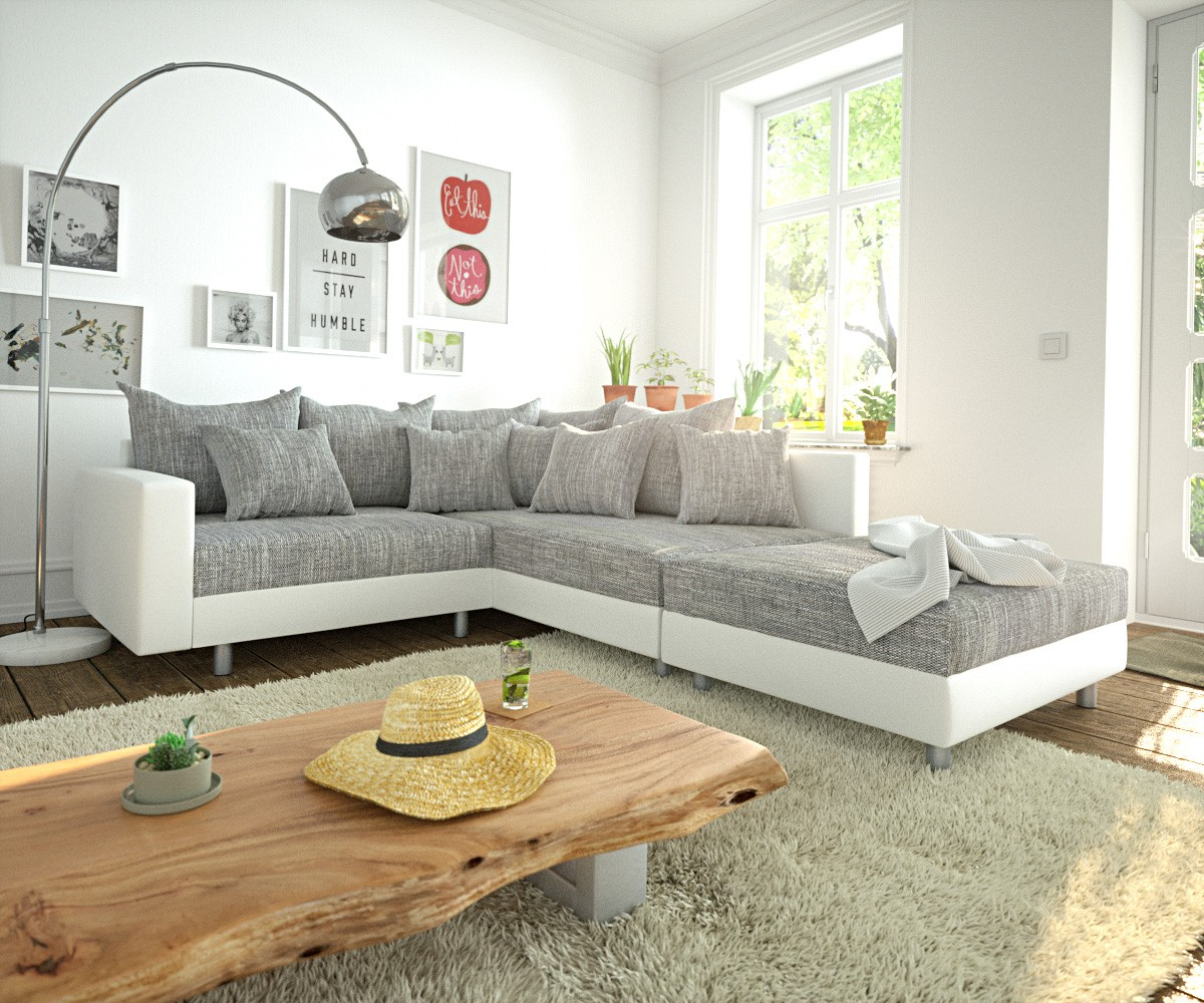 ecksofa clovis weiss hellgrau modular hocker armlehne ottomane rechts m bel sofas ecksofas. Black Bedroom Furniture Sets. Home Design Ideas