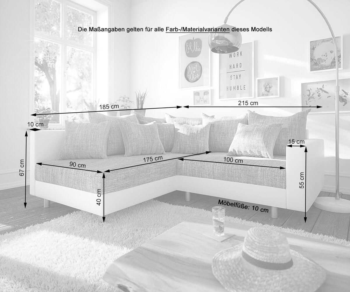 eckcouch clovis weiss hellgrau armlehne ottomane links. Black Bedroom Furniture Sets. Home Design Ideas