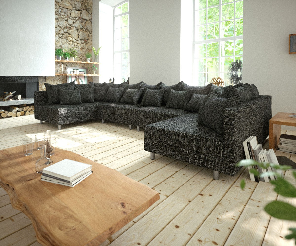 couch clovis xl schwarz strukturstoff wohnlandschaft modulares sofa. Black Bedroom Furniture Sets. Home Design Ideas