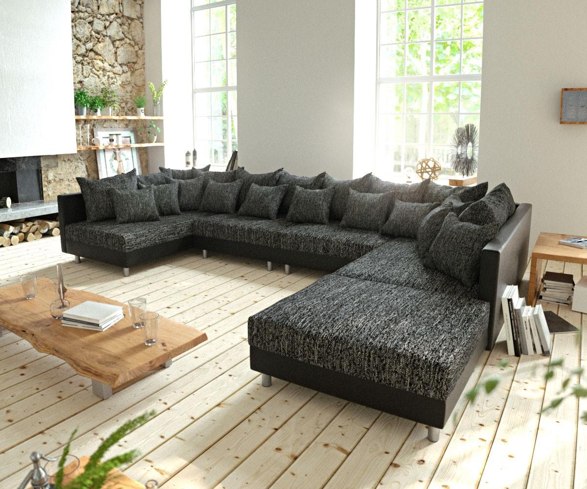 wohnlandschaft clovis xl schwarz modulsofa mit hocker m bel sofas wohnlandschaften. Black Bedroom Furniture Sets. Home Design Ideas