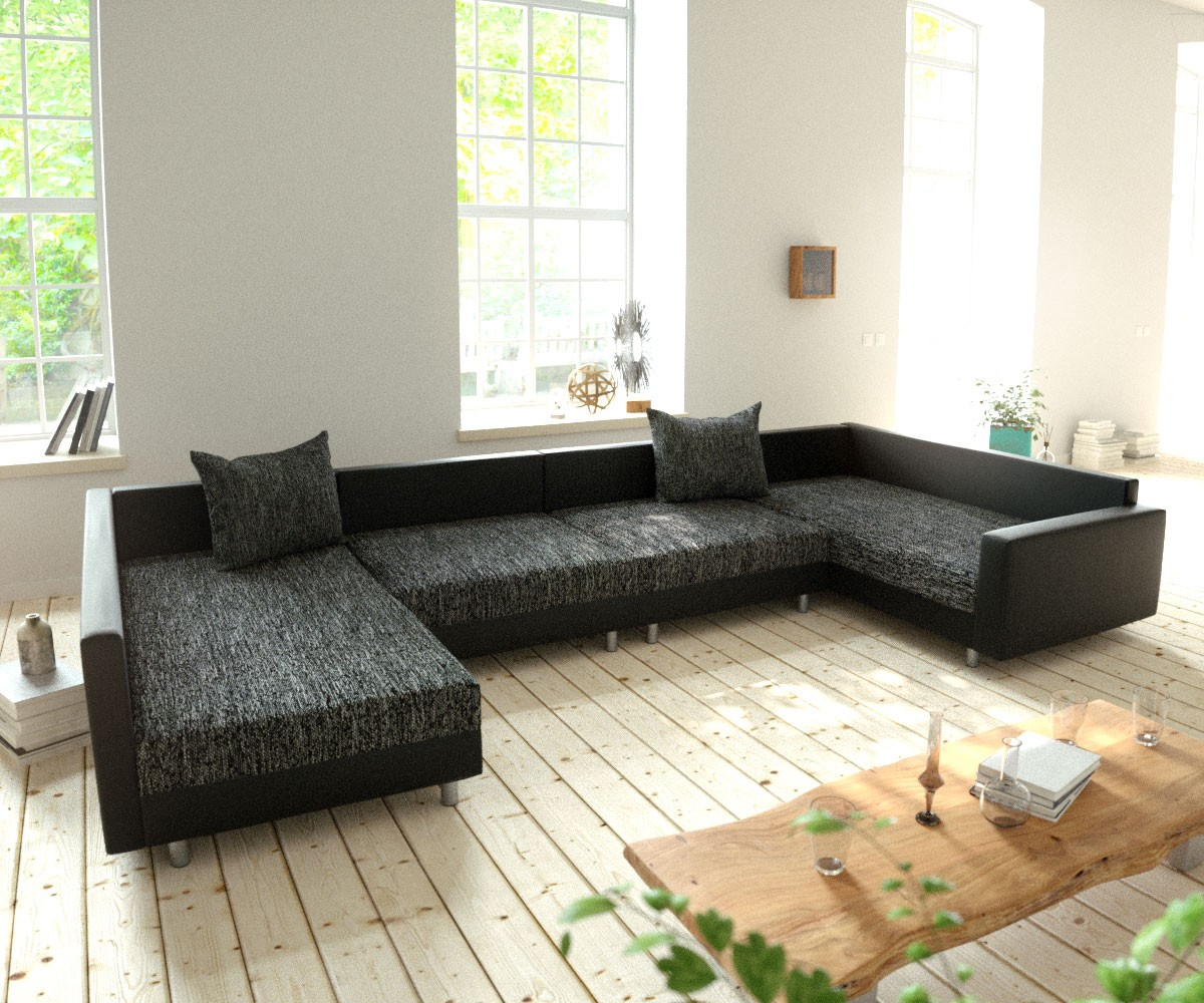couch clovis xl schwarz mit armlehne wohnlandschaft modulsofa 4250809380476 ebay. Black Bedroom Furniture Sets. Home Design Ideas