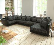Couch Clovis XL Schwarz mit Armlehne Wohnlandschaft Modulsofa [10819]