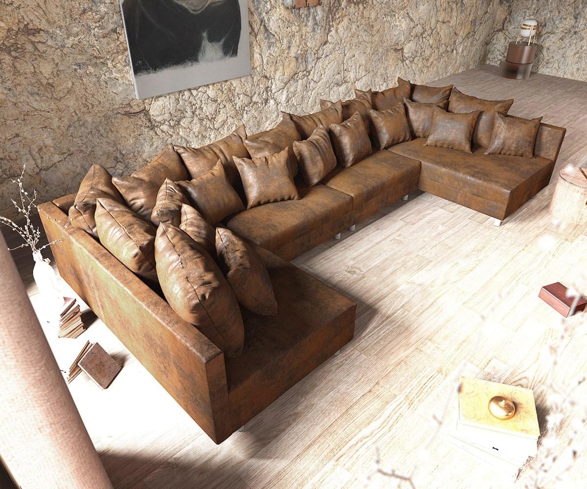 Wohnlandschaft Clovis Xl Braun Antik Optik Modulsofa Möbel Sofas