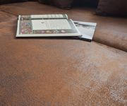 Couch Clovis XL Braun Antik Optik Hocker Armlehne Wohnlandschaft modular [10828]