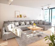 Couch Clovis XL Hellgrau Strukturstoff Wohnlandschaft modular [10829]