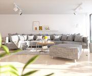 Couch Clovis XL Hellgrau Strukturstoff mit Hocker Wohnlandschaft [10830]