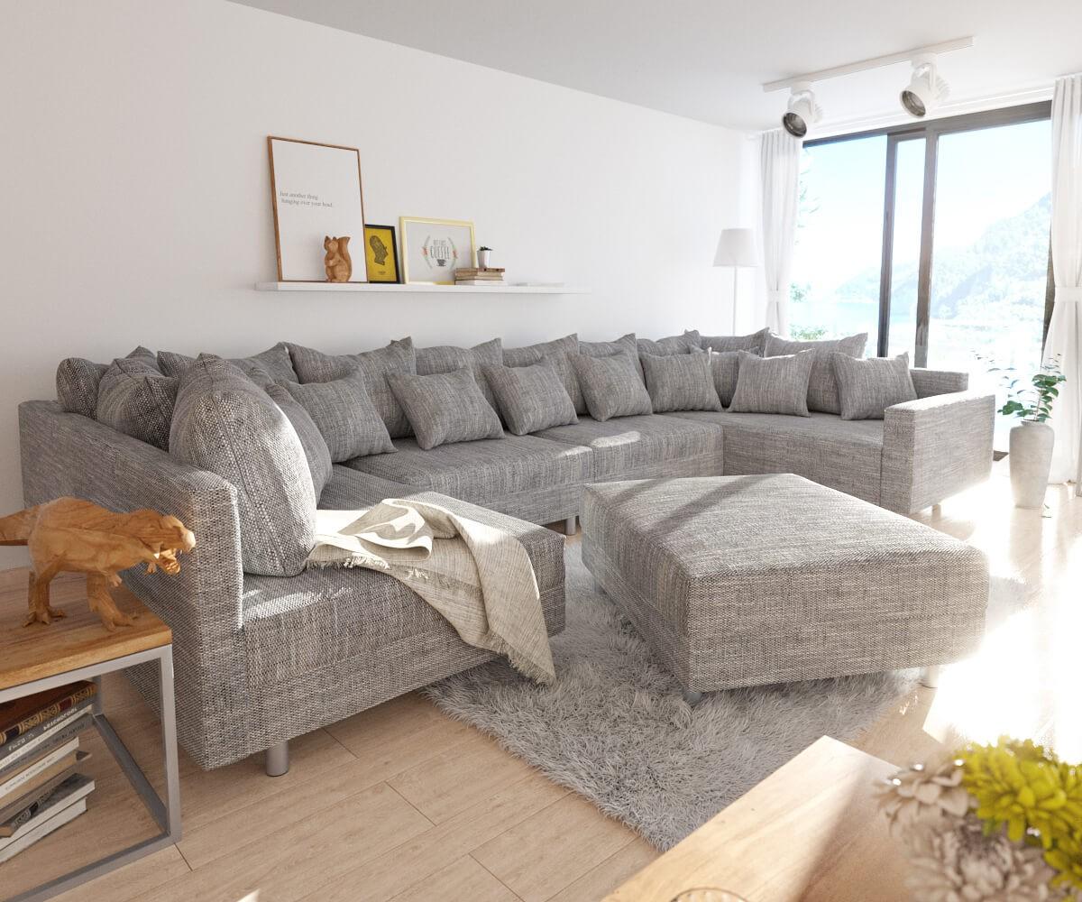 DELIFE Wohnlandschaft Clovis XL Hellgrau Strukturstoff Hocker Armlehne Modul, Design Wohnlandschaften, Couch Loft, Modulsofa, modular