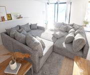 Couch Clovis XL Hellgrau Strukturstoff mit Hocker und Armlehne Wohnlandschaft [10832]